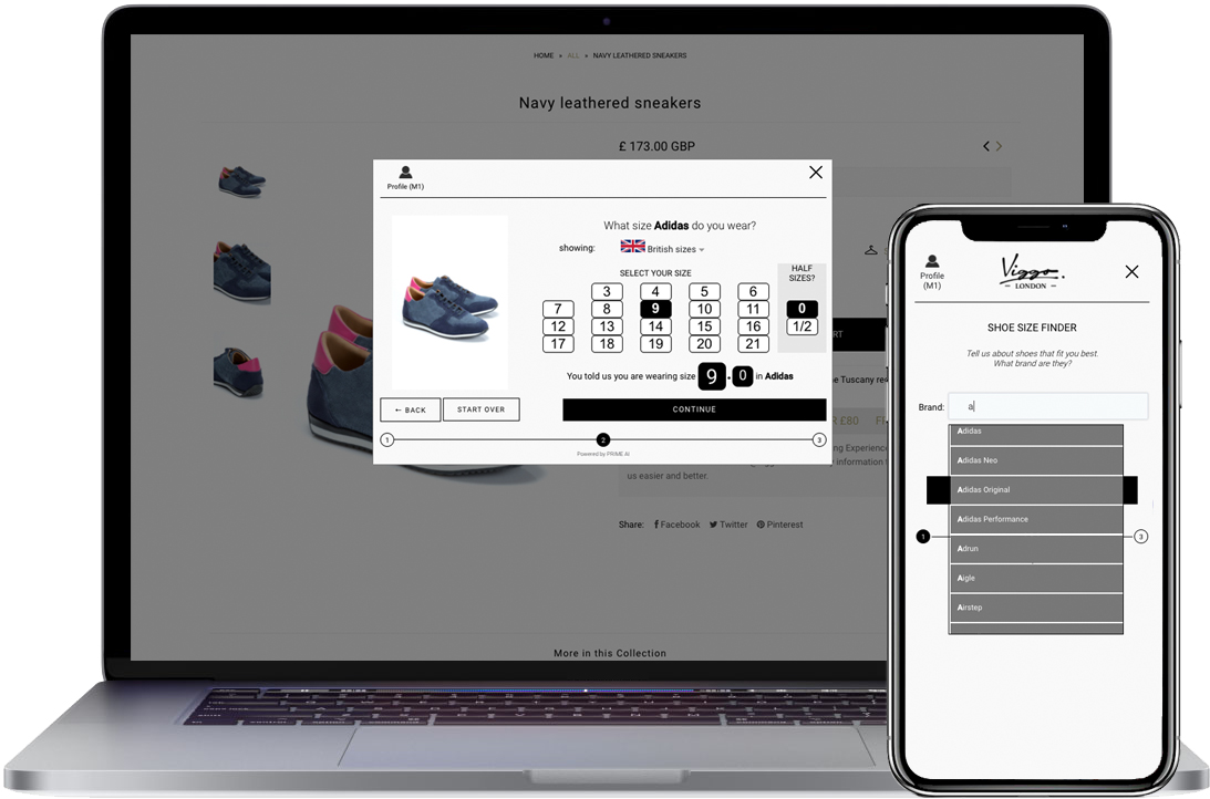 shoes size fit finder example